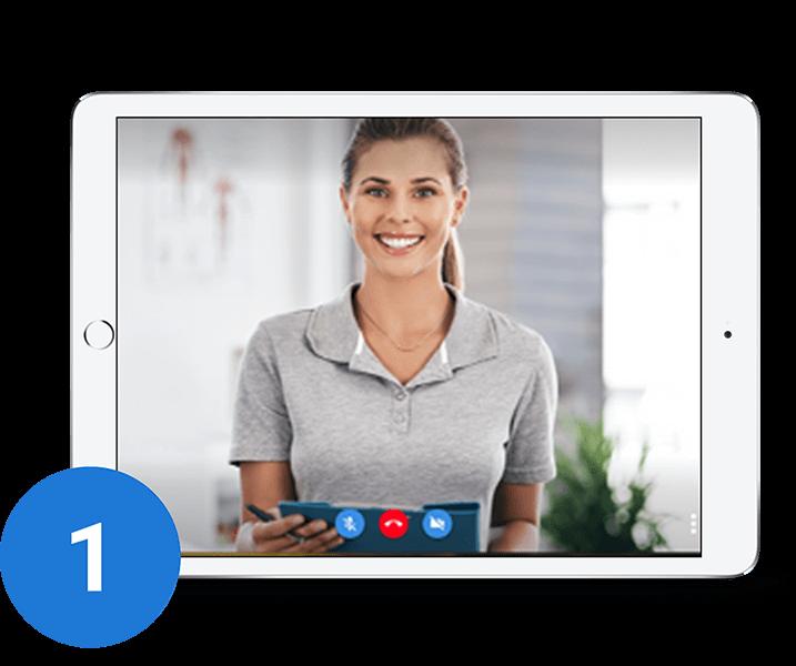 临床医生通过安全连接向患者发起虚拟访问。
